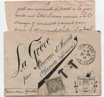 1914 Superbe Enveloppe Décorée à La Main (avec Correspondance) FRANCHISE MILITAIRE Non Reconnue TAXE 20c Banderole Duval - Guerre De 1914-18