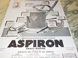 ANCIENNE PUBLICITE ASPIRON PARIS - RHONE 1929 - Technical