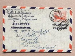 USA Air Letter Monroe Wisconsin To Bolton England - Vereinigte Staaten