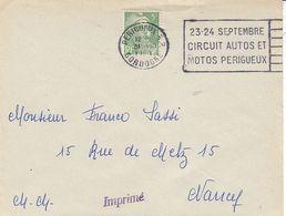 Périgueux R.P. Dordogne ,flamme 23.24 Septembre Circuit Autos...lettre De 1950 - Poststempel (Briefe)