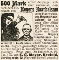 Original-Werbung/ Anzeige 1901 - MEYER'S HAARBALSAM - KREFELD - Ca. 45 X 45 Mm - Pubblicitari