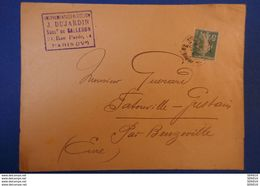 L35 FRANCE LETTRE 1925 DE LA RUE PAVEE Timbre Perforé JEAN DUJARDIN ( Déja Dans Le Marais !!) Pour BEUZEVILLE - Francia
