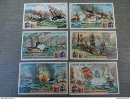 Série De 6 Chromos Cibils: Zeeslagen In De 19° Eeuw - Trade Cards