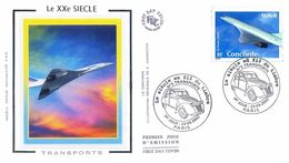 Enveloppe 1er Jour Avec Timbre Yt 3471, Le Siècle Au Fil Des Timbres, Le Concorde 2002 - 2000-2009
