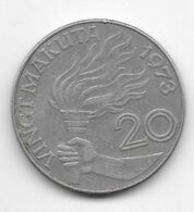 Zaire 20 Makuta 1973  Km 8    Xvf - Zaire (1971 -97)