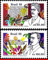 Ref. BR-2150-51 BRAZIL 1988 FAMOUS PEOPLE, BOOK DAY,RAUL POMPEIA, OLAVO BILAC,WRITERS,MI# 2269-70,MNH 2V Sc# 2150-2151 - Escritores