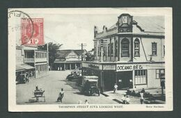 Fiji 1930 B & W Picture Postcard Of Thompson St Suva Used Suva To Germany - Fidji (...-1970)
