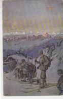 Schneeschuhläufer Patrouille - 1916 Feldpost / Altersspuren - War 1914-18
