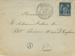 1900 - DEVANT D'enveloppe Affr. 15 C Sage Oblit. Cad Facteur Boitier De MARRAY ( Indre Et Loire - Postmark Collection (Covers)