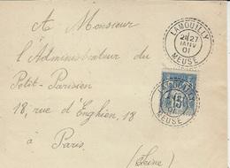 1901 - DEVANT D'enveloppe Affr. 15 C Sage Oblit. Cad Facteur Boitier De LAMOUILLY ( Meuse ) - Postmark Collection (Covers)