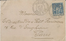 1900 - DEVANT D'enveloppe Affr. 15 C Sage Oblit. Cad Facteur Boitier De VISERNY ( Meuse ) - Postmark Collection (Covers)