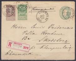 EP Envel. 10c Vert (Léopold 1869) + N°56+61 Càd COURTRAI /18 JUIN 1895 En Recommandé Pour KLAMPENBORG (Danemark) (au Dos - Briefe