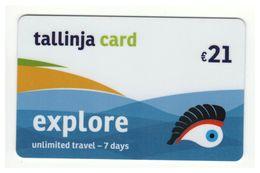 Tallinja Card 7 Day Malta Public Transport TICKET Unlimited Travel Electronic Plastic - Wochen- U. Monatsausweise