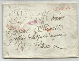 MARQUE ROUGE P.PAYE + GRIFFE CHARGE LETTRE POUR VITTEAUX COTE D'OR - 1801-1848: Precursors XIX