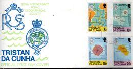 FDC TRISTAN DA CUNHA 1980 - LES CARTES DE GEOGRAPHIE DE L'ILE - - Geografía