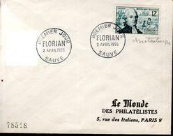LETTRE 1ER JOUR 1955 - FLORIAN, FABULISTE, ROMANCIER, AUTEUR DRAMATIQUE - SIGNEE PAR LE GRAVEUR CLAUDE HERTENBERGER - - Brieven En Documenten