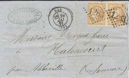 Mai 71- Lettre De DAX ( Landes ) Affr. Paire N°43 B  ( Court Sur Les Cotés ) Oblit. G C 1283 - 1849-1876: Classic Period