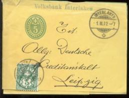 19297 Schweiz GS Streifband + Marke Interlaken - Leipzig 1902, Bedarfserhaltung. - Postwaardestukken