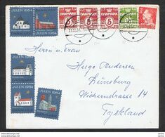 DENMARK: 1964 COUVERT WITH 5x3 Ore + 10 Ore + 35 Ore (254x3 + 336B + 421 + ERINNOFILI) - TO GERMANY - Lettere