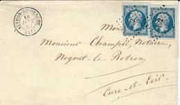 1859- Lenveloppe D'AUTHON-DU-PERCHE ( Eure Et Loir ) Cad T15 Affr. N°14 X 2 Oblit. Pc 192 - 1849-1876: Periodo Clásico