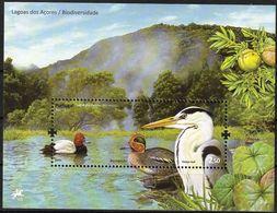 2009 Portugal (Azores) Biodiversity Of Lakes: Pochard, Teal, Grey Heron Souvenir Sheet (** / MNH / UMM) - Ducks