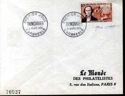 LETTRE 1ER JOUR 1955 - THIMONNIER, INVENTEUR DE LA MACHINE A COUDRE - SIGNEE PAR LE GRAVEUR RENE COTTET - - Brieven En Documenten