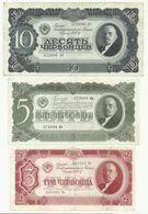 Russia 10 , 5 , 3  Chervontsev 1937 Lenin - VF + - Russia