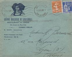 PAIX 65C+SEMEUSE 25C SUR ENVELOPPE ILLUSTREE ENTETE GRANDE BRASSERIE DE STRASBOURG 14/12/1938 POUR LYON - Covers & Documents