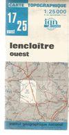Carte Topographique ,1: 25000 , IGN France , LENCLOITRE OUEST , Vienne , 1977 , N° 1725 , Frais Fr 3.45 E - Carte Topografiche