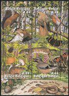 2004 Belgium Forest Week: Birds, Meadow Mouse, Squirrel, Bumblebee, Butterflies, Weasel Minisheet (** / MNH / UMM) - Passereaux