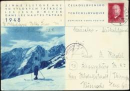 A1113 CSSR So. GZ Karte Schilaufen 1948 Selten - Postal Stationery