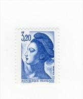 Liberté 3fr20 Bleu YT 2377 Avec GOMME MATE . Rare , Voir Le Scan . Cote Maury N° 2383a : 15 € . - Variedades: 1980-89 Nuevos