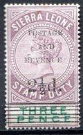 SIERRA LEONE - (Colonie Britannique) - 1897 - Timbre Fiscal - N° 45a - 2 1/2 D. S. 3 P. Violet-brun - (Victoria) - Sierra Leone (...-1960)