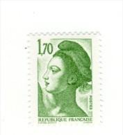 Liberté 1fr70 Vert YT 2318 Avec GOMME MATE Et Papier Mat . Pas Courant , Voir Le Scan . Cote Maury N° 2327b : 5 € . - Variedades: 1980-89 Nuevos