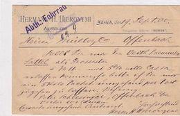Hermann H.Hieronymi Abt.Fahrrad - Doppel-Frankatur UPU - 1900     (00814) - Publicidad