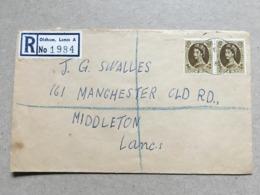 GB Elizabeth Registered Oldham Cover 1964 To Middleton - Briefe U. Dokumente