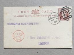 GB Victoria Pre-paid Postcard With Manchester Duplex 1882 To London - 1840-1901 (Regina Victoria)