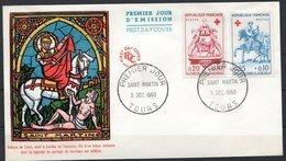 FDC FRANCE 1960 - N° 1278 Et 79 - Au Profit De La Croix-Rouge - Petit Cachet : TOURS - 1960-1969