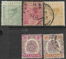 Malaya/Selangor  1891-5   Sc#24 MH, 25, 26, 29, 32 Used   2016 Scott Value $6.85 - Selangor
