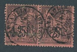 DS-135: FRANCE: Lot Avec SAGE N°91 Obl  (paire) - 1876-1898 Sage (Type II)