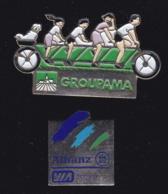 66375-Lot De 2  Pin's.Assurances.Groupama.Allianz.tandem.cyclisme. - Banken