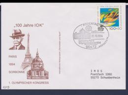 Germany Cover 1994 Rödental Sorbonne Paris 1. Olymp. Kongress 1894 - 100 Years IOC (G115-5) - Sonstige