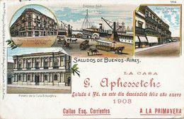 Litho Buenos Aires Curia, Palacio Toledo Horse Tram Giorgio Sternfeld Venezia . Casa Aphessetche . Basque . Pais Vasco - Argentina
