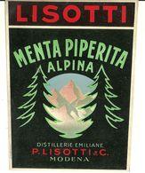 """8928"""" LISOTTI-MENTA PIPERITA ALPINA-DISTILLERIE EMILIANE P- LISOTTI & C.-MODENA """"- ETICHETTA ORIGINALE - Other"""