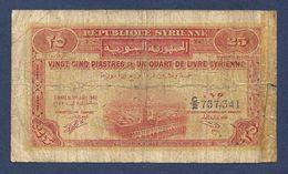 Syria 25 Piastres 1942 P51 Fine - Siria