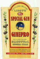 """8936"""" LISOTTI-SPECIAL GIN GINEPRO- DISTILLERIE EMILIANE P- LISOTTI & C.-MODENA """"- ETICHETTA ORIGINALE - Other"""