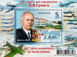 Belarus - 2020 - Pavel Sukhoi, Aircraft Engineer - 125th Anniversary - Mint Souvenir Sheet - Belarus