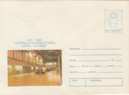 SCIENCE, ENERGY, LOTRU-GIUNGET WATER POWER PLANT, COVER STATIONERY, ENTIER POSTAL, 1992, ROMANIA - Water