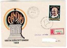 M667 Hungary FDC Recommandée Registered Letter 1969 Mahatma Gandhi Was Born 100 Years Ago - Mahatma Gandhi