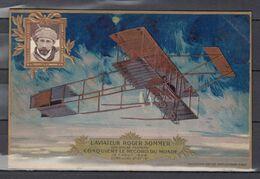 Postkaart L'Aviateur Roger Sommer Sur Biplan Farman - Aviateurs